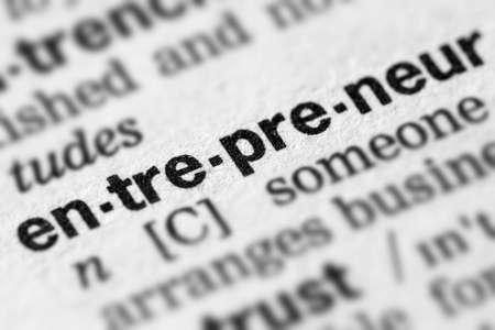 Definición de emprendedor Palabra de texto en página de diccionario