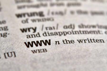 definicion: WWW palabra en el diccionario la definici�n del texto P�gina Foto de archivo