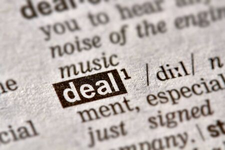 definition: Deal Word Definition Text in Dictionary Page Stock Photo