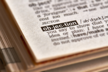 definition: Objection Word Definition Text in Dictionary Page