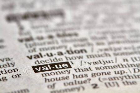 Value Word Definition Text in Dictionary Page