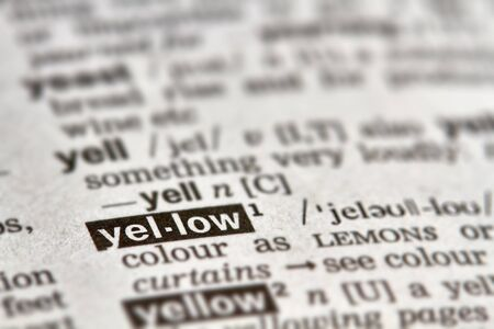 definition: Yellow Word Definition Text in Dictionary Page