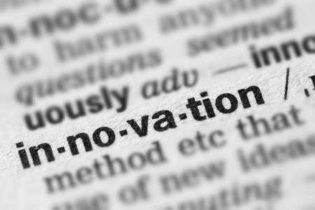 definicion: Innovation Definition Word Text in Dictionary Page Foto de archivo