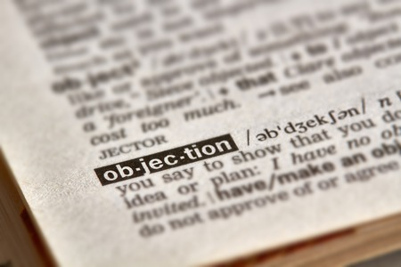 objection: Objection Word Definition Text in Dictionary Page