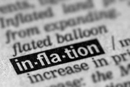 definición: La inflación definición de la palabra en el diccionario de texto Página Foto de archivo