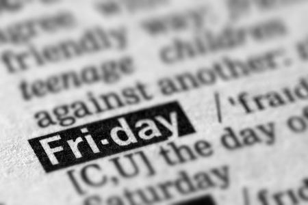 definicion: Viernes definici�n de la palabra en el diccionario de texto P�gina Foto de archivo
