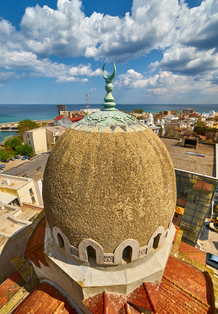 Mosque Tower  Aerial View in Constanta City, Romania. 스톡 콘텐츠