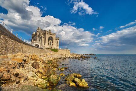 Seaside Landscape with Old Casino Ruin in Constanta City, Romania.