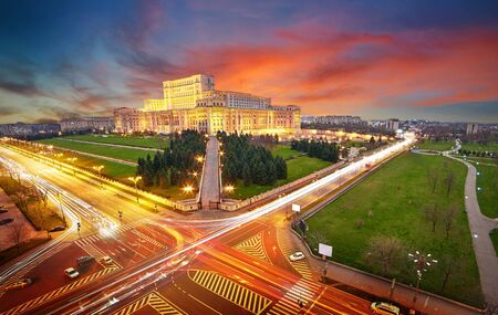 Bucharest Aerial View of Parliament Palace at Sunset 報道画像