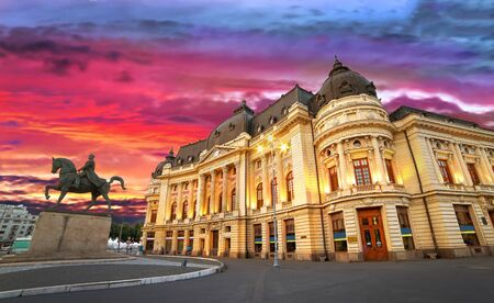 Bucharest by night. Sunset at the University Library.