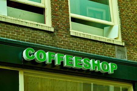 shop sign: Coffee Shop Sign in Amsterdam, Holland