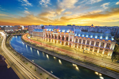 Bucharest by Night. Aerial View of The Palace of Justice. Editorial