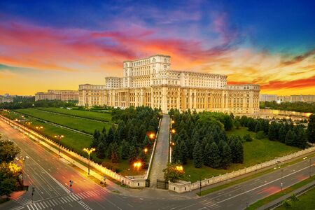Bucharest City in Romania. Aerial View of the Parliament Palace at Night.