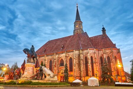 cluj: Cluj Napoca City in Romania. Night view of St Michael Church.