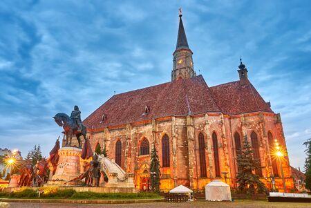 Cluj Napoca City in Romania. Night view of St Michael Church.