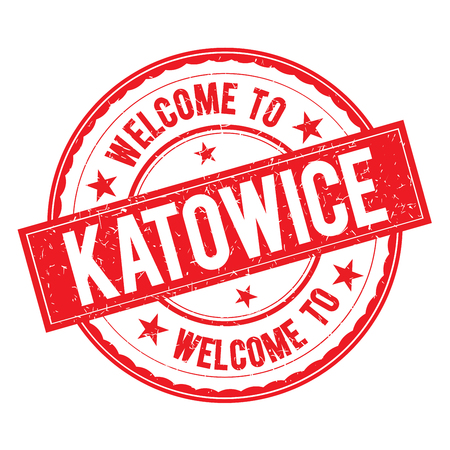 Welcome to KATOWICE Stamp Icon Sign Vector. Ilustracja