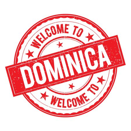 dominica: Welcome to DOMINICA Stamp Icon Sign Vector. Illustration
