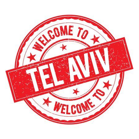 aviv: Welcome to TEL   AVIV Stamp Icon Sign Vector. Illustration