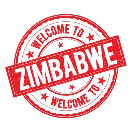zimbabwe: Welcome to ZIMBABWE Stamp Icon Sign Vector.