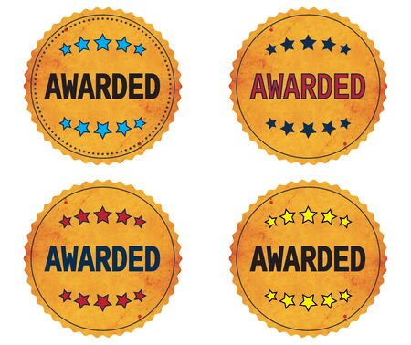 awarded: AWARDED text, on round wavy border vintage stamp badge, in color set.