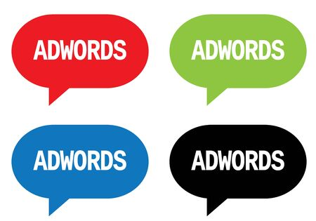 adwords: ADWORDS text, on rectangle speech bubble sign, in color set. Stock Photo
