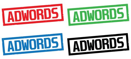 adwords: ADWORDS text, on rectangle border stamp sign, in color set. Stock Photo