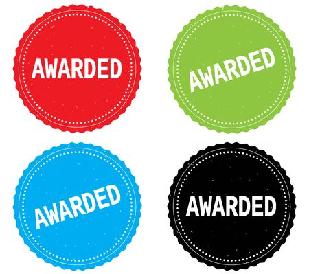 awarded: AWARDED text, on round wavy border stamp badge, in color set.