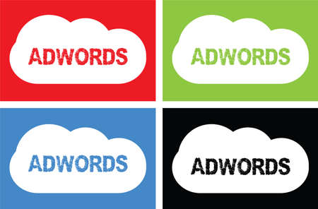 ADWORDS text, on cloud bubble sign, in color set. Stock Photo
