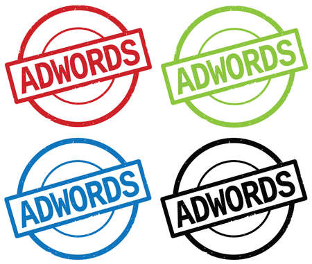 adwords: ADWORDS text, on round simple stamp sign, in color set.