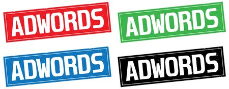 ADWORDS text, on rectangle stamp sign, in color set.