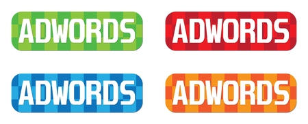 adwords: ADWORDS text, on rectangle, zig zag pattern stamp sign, in color set. Stock Photo