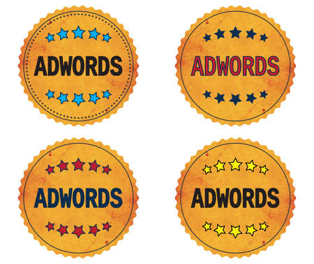 ADWORDS text, on round wavy border vintage stamp badge, in color set.