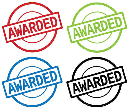 AWARDED text, on round simple stamp sign, in color set. Stock Photo