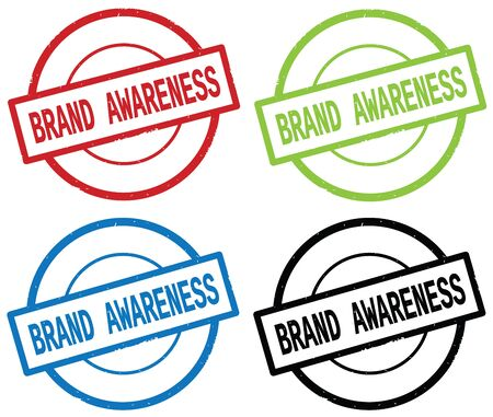BRAND AWARENESS text, on round simple stamp sign, in color set. Stock Photo