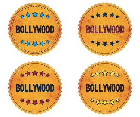 bollywood: BOLLYWOOD text, on round wavy border vintage stamp badge, in color set.