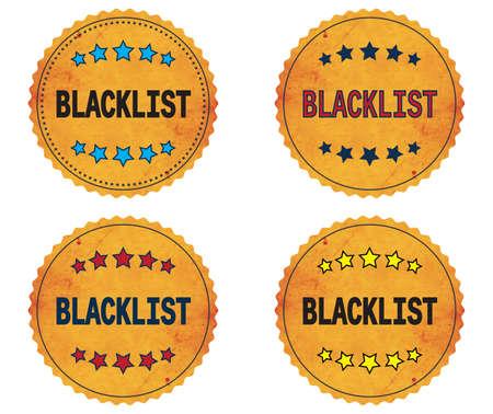 blacklist: BLACKLIST text, on round wavy border vintage stamp badge, in color set.