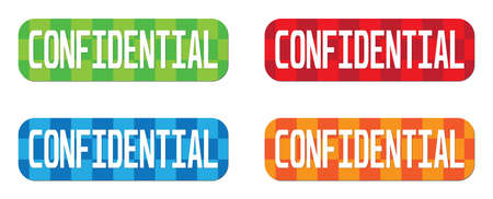 classified: CONFIDENTIAL text, on rectangle, zig zag pattern stamp sign, in color set. Stock Photo