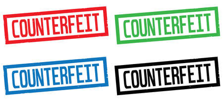 counterfeit: COUNTERFEIT text, on rectangle border stamp sign, in color set.