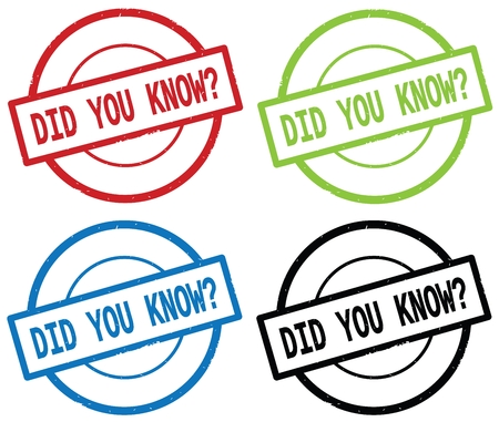 DID YOU KNOW  text, on round simple stamp sign, in color set.