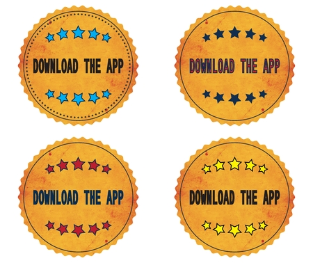 se: DOWNLOAD THE APP text, on round wavy border vintage stamp badge, in color set. Stock Photo