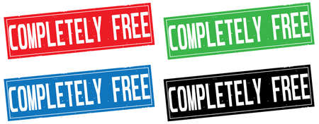 COMPLETELY FREE text, on rectangle stamp sign, in color set.