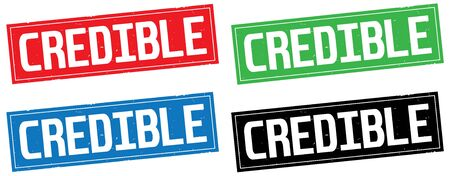 CREDIBLE text, on rectangle stamp sign, in color set.