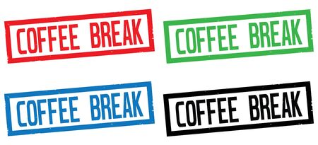 break in: COFFEE BREAK text, on rectangle border stamp sign, in color set.