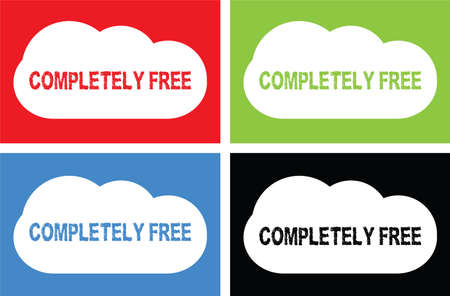 COMPLETELY FREE text, on cloud bubble sign, in color set.
