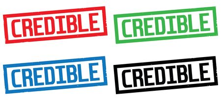 CREDIBLE text, on rectangle border stamp sign, in color set.