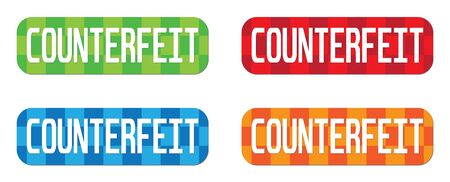 counterfeit: COUNTERFEIT text, on rectangle, zig zag pattern stamp sign, in color set.