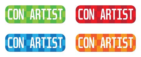 con: CON ARTIST text, on rectangle, zig zag pattern stamp sign, in color set. Stock Photo