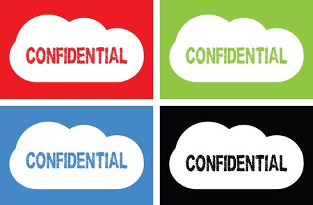 classified: CONFIDENTIAL text, on cloud bubble sign, in color set. Stock Photo
