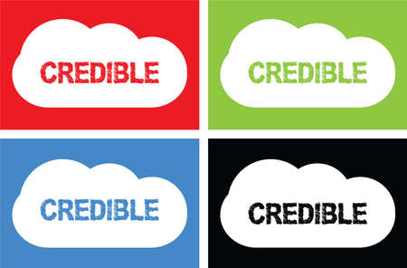 CREDIBLE text, on cloud bubble sign, in color set. Фото со стока