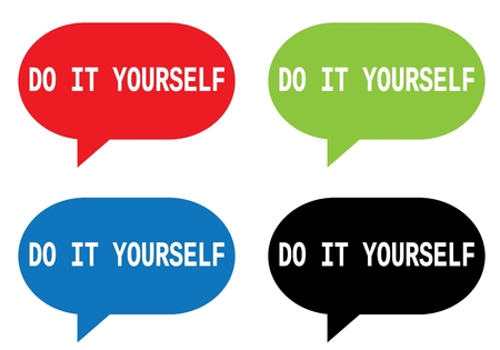 Do it yourself text on rectangle speech bubble sign in color do it yourself text on rectangle speech bubble sign in color set stock solutioingenieria Choice Image